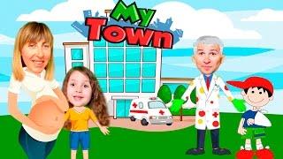 МАМА БЕРЕМЕННА Брат сломал руку а я ЗАБОЛЕЛА Играем в больницу для детей My Town KIDS CHILDREN