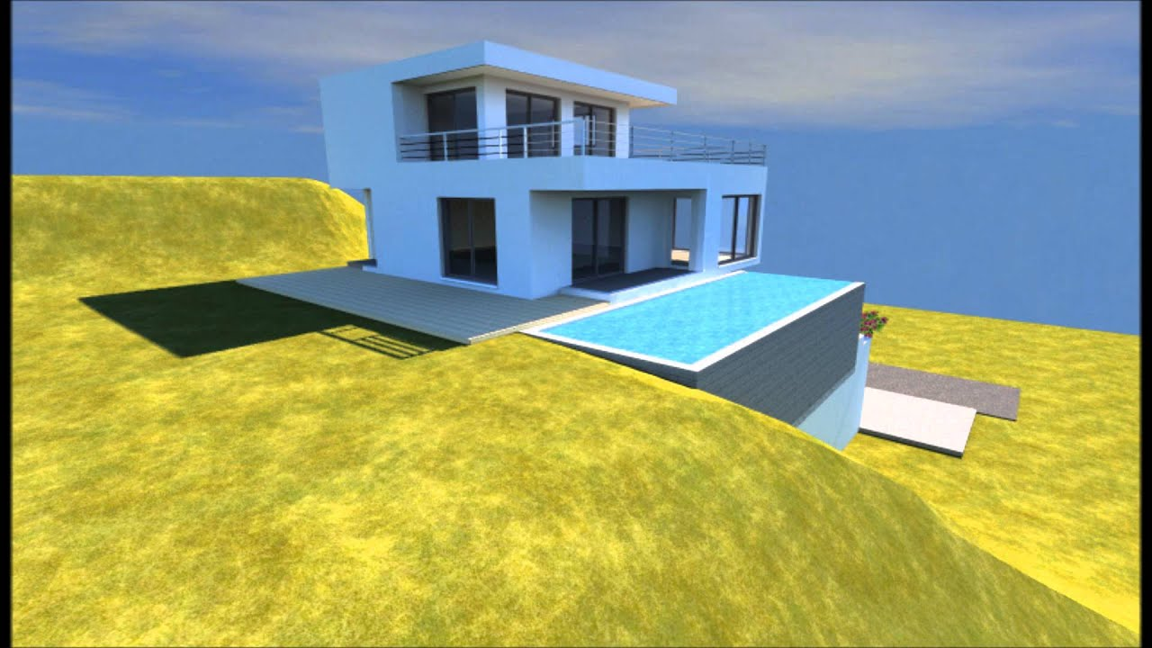 Conception 3d d 39 un plan de maison avec piscine youtube for Plan de maison 3d