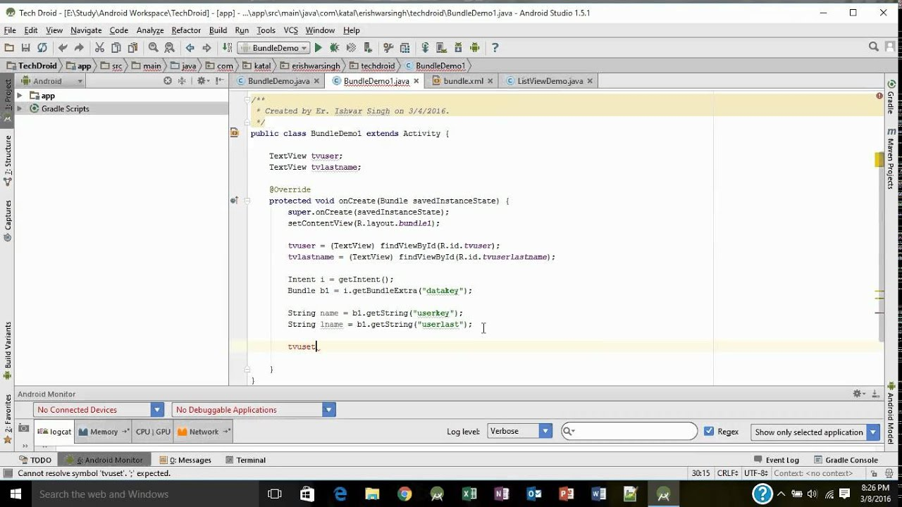 Lesson 28 (Android Studio) Extract Bundle Data to next Activity