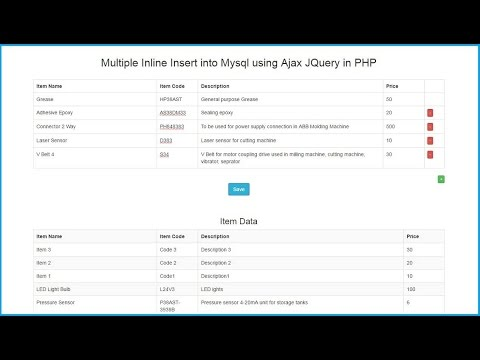 Multiple Inline Insert into Mysql using Ajax JQuery in PHP | Webslesson