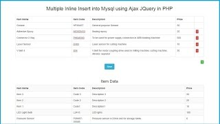 Multiple Inline Insert into Mysql using Ajax JQuery in PHP