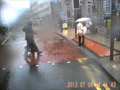 Taxis and pedestrians