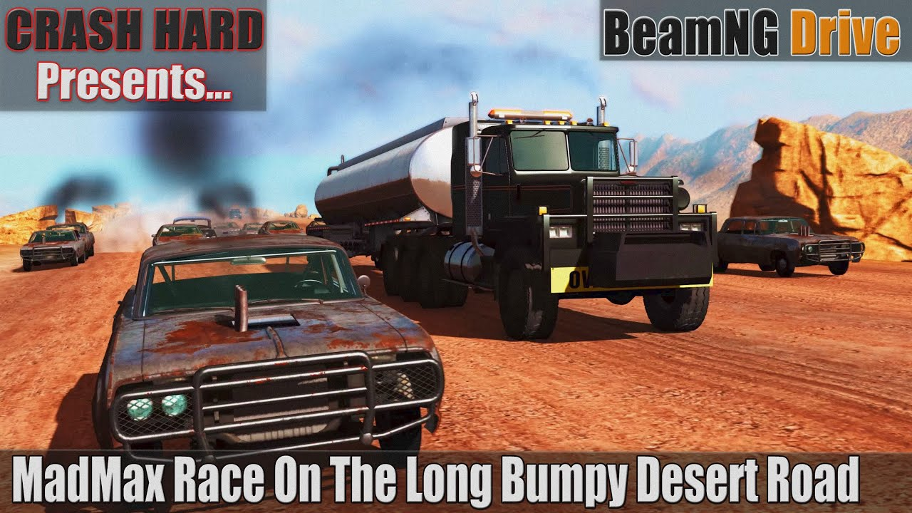 BeamNG Drive - MadMax Race On The Long Bumpy Desert Road