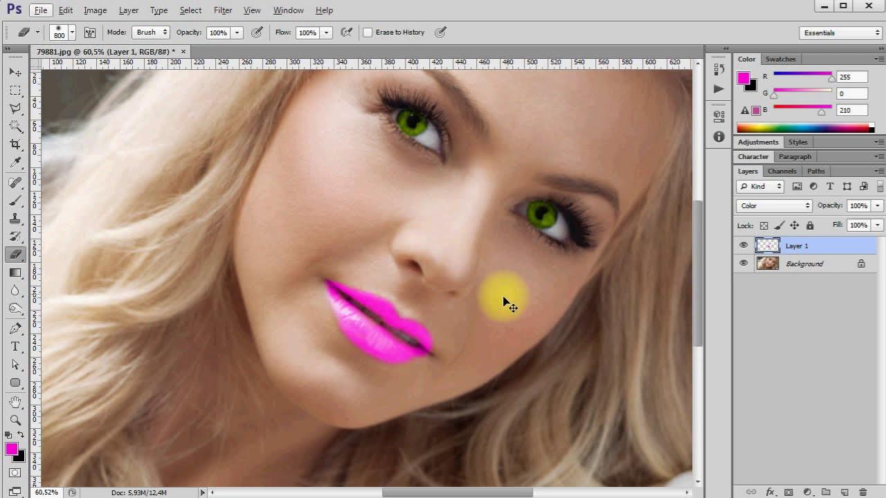 PS Как поменять цвет глаз, волос, губ в Фотошопе ? - YouTube