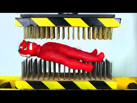 STRETCH VAC-MAN BETWEEN NAIL BEDS (HYDRAULIC PRESS EXPERIMENT)