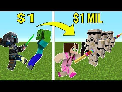 Minecraft: 1 DOLLAR LIGHTSABER VS 1,000,000 DOLLAR RAINBOW LIGHTSABER!!! Crafting Mini-Game