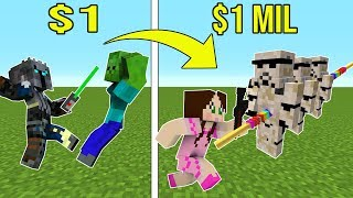 Minecraft: 1 DOLLAR LIGHTSABER VS 1,000,000 DOLLAR RAINBOW LIGHTSABER!!! Crafting Mini-Game