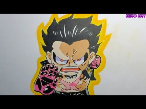 Cách Vẽ Luffy Gear 4  Chibi với màu tuochliit thật đơn giản