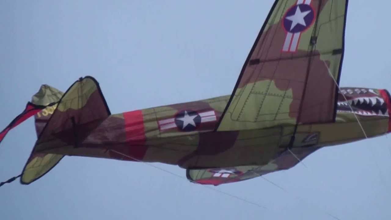 Extra P-40 Airplane Kite footage unedited - YouTube