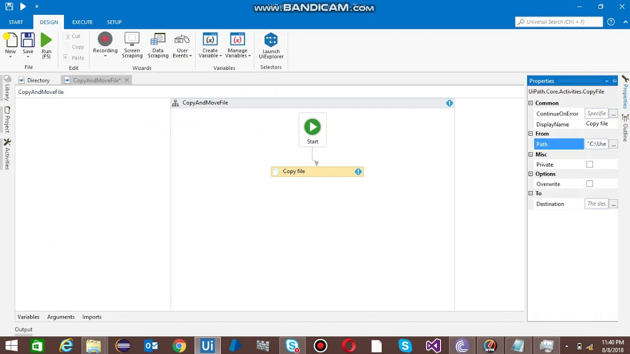 How to copy file from one folder to another in UiPath