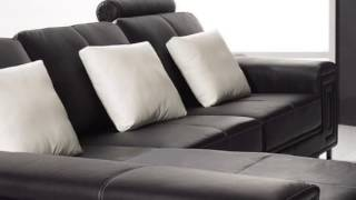 Africa   Modern Black Leather Sectional Sofa
