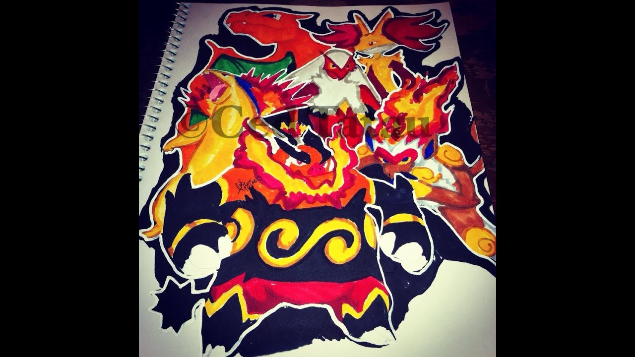 Pokemon coloring pages emboar - Copic Marker Speed Color Pok Mon Fire Starters With Commentary Youtube