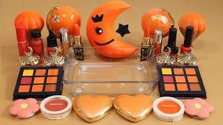 "Mixing""Orange Moon"" Eyeshadow and Makeup,parts,glitter Into Slime!Satisfying Slime Video!★ASMR★"
