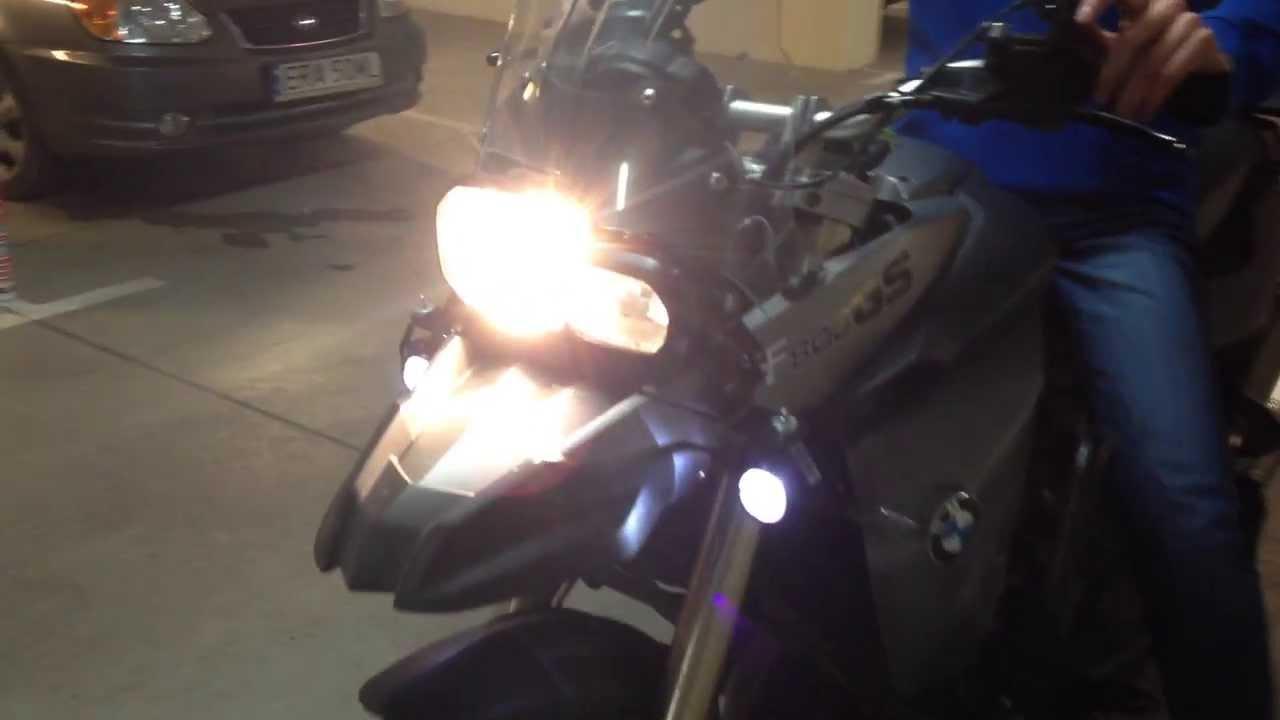 Bmw F800gs Led Spotlights Fog Lights Youtube