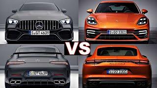 Porsche Panamera Turbo S vs Mercedes AMG GT 63 S 4 door coupe (2021) panamera, amg gt 63s.