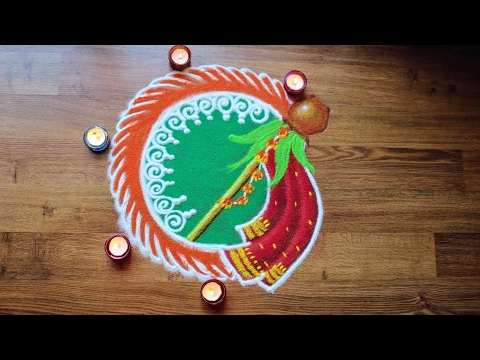 Gudi padwa rangoli designs with colours - Ugadi Rangoli designs