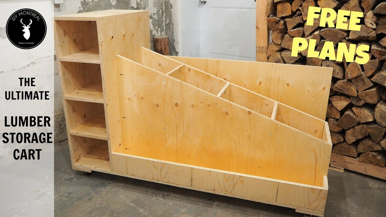 The Ultimate Lumber Storage Cart (Free Plans) - YouTube