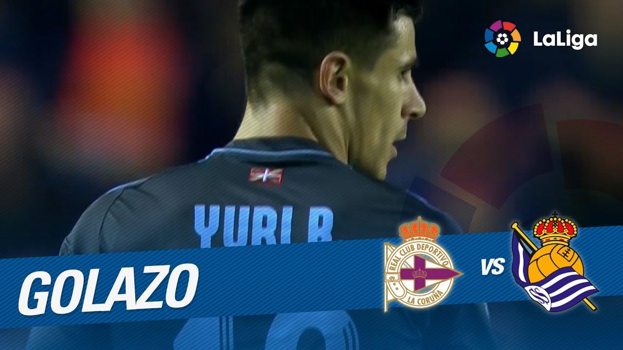 54c3b8353c Golazo de Yuri (3-1) Deportivo de la Coruña vs Real Sociedad - YouTube