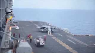 AV-8B Harrier performs no gear landing onboard USS Bataan (2014)