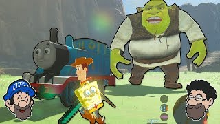 Ever wanted to see Woody wielding Spongebob and a Minecraft pick ch...