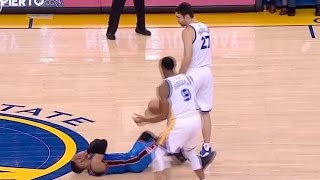Russell Westbrook FLOPS to Draw Flagrant Foul, Zaza Pachulia Gives Him the Ivan Drago Death Stare