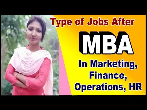 Types of jobs after MBA in Marketing, Finance, HR, Operations- Highest paying