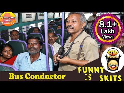 Bus Conductor Funny Skit | Telangana Jokes | Telugu Comedy Scenes Latest |  Telugu Jokes