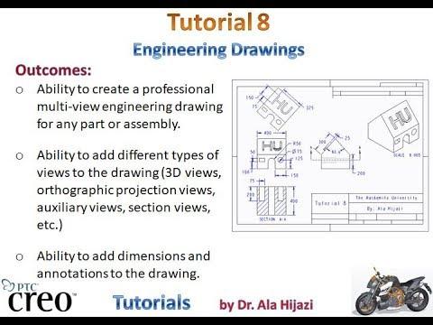 Creo Parametric - Tutorial 8 (Engineering Drawings) - ARABIC