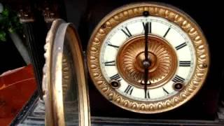 Antique Vintage Old American Metal Case Ansonia Mantle / Mantel  Clock See Video