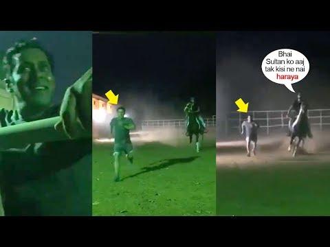 W0W! Salman Khan's Unbelivable Fitness Makes Him WIN Race Against His Horse Sultan @Panvel Farmhouse