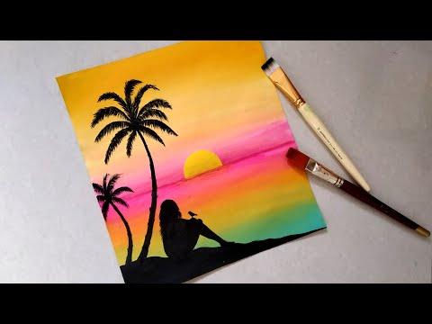 Easy Sunset seascape Beach Landscape Painting tutorial for beginners|| Sad Girl | Simple Acrylic sun