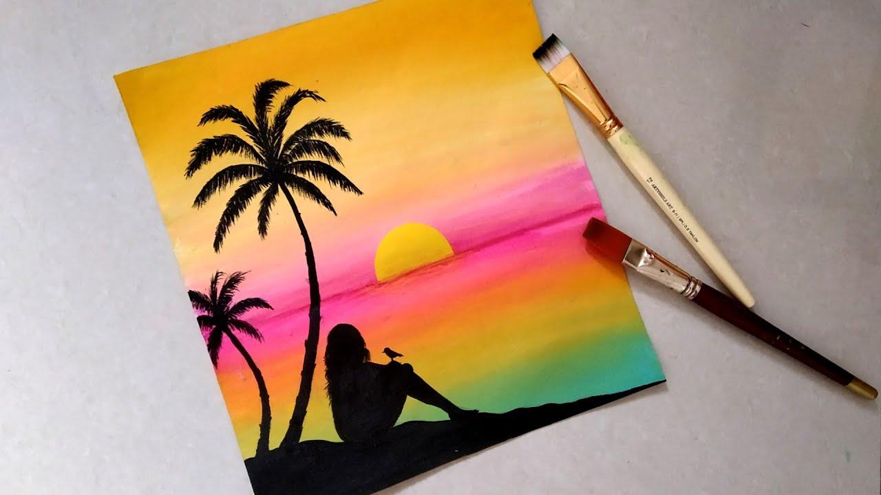 Easy Sunset Seascape Beach Landscape Painting Tutorial For Beginners Sad Girl Simple Acrylic Sun Youtube