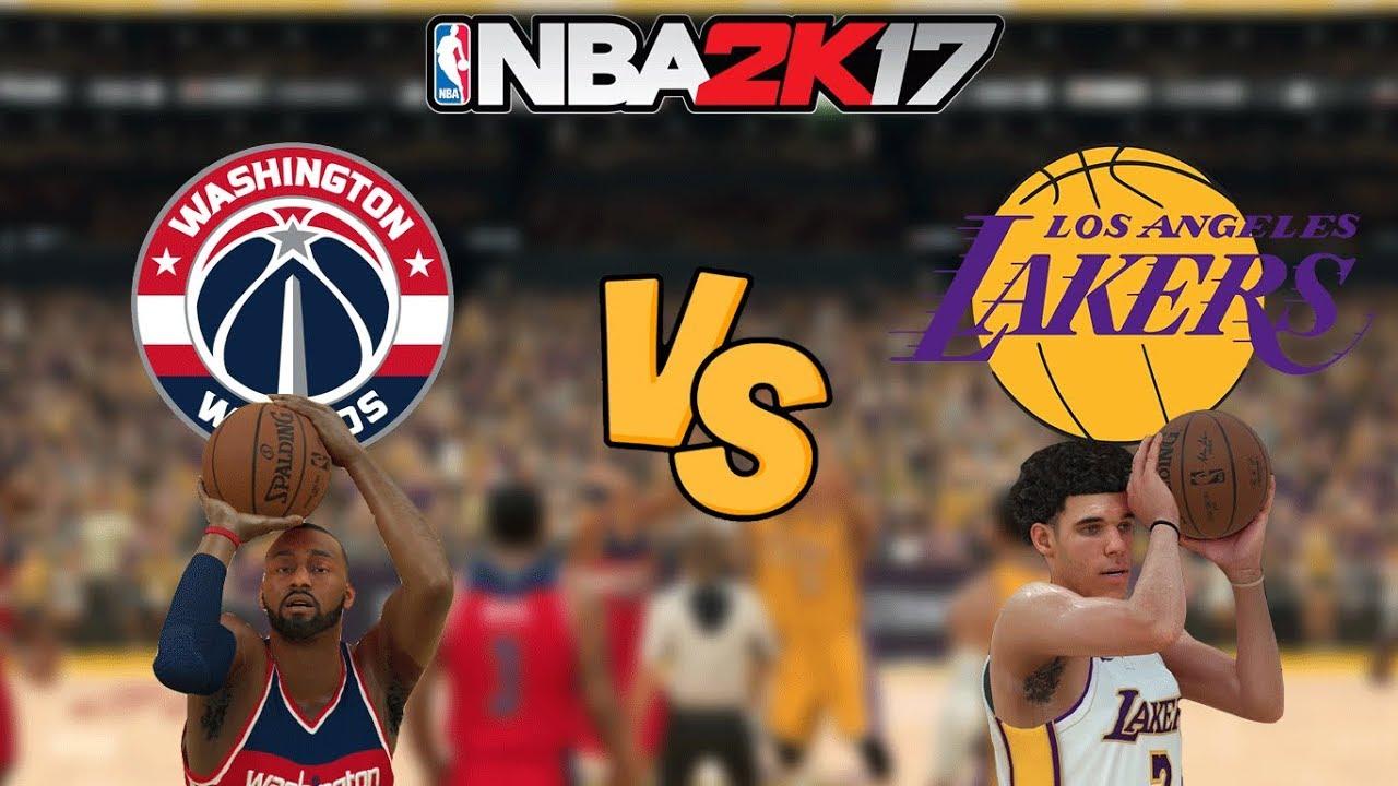 NBA 2K17 - Washington Wizards WALL! vs. Los Angeles Lakers ...