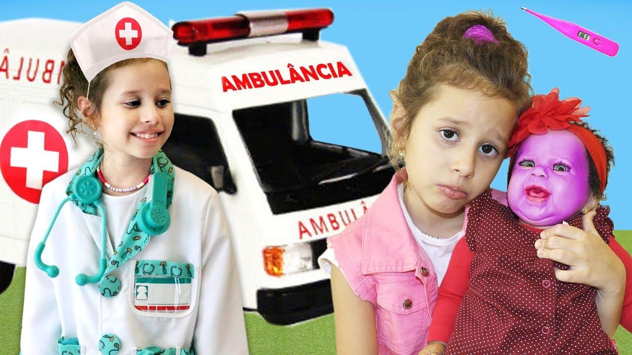 Valentina médica por um dia e salva a bebê Reborn ♥ Pretend Play With Doctor