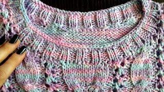 Горловина спицами. МК Часть 2. Обвязываем горловину для топа и свитера.