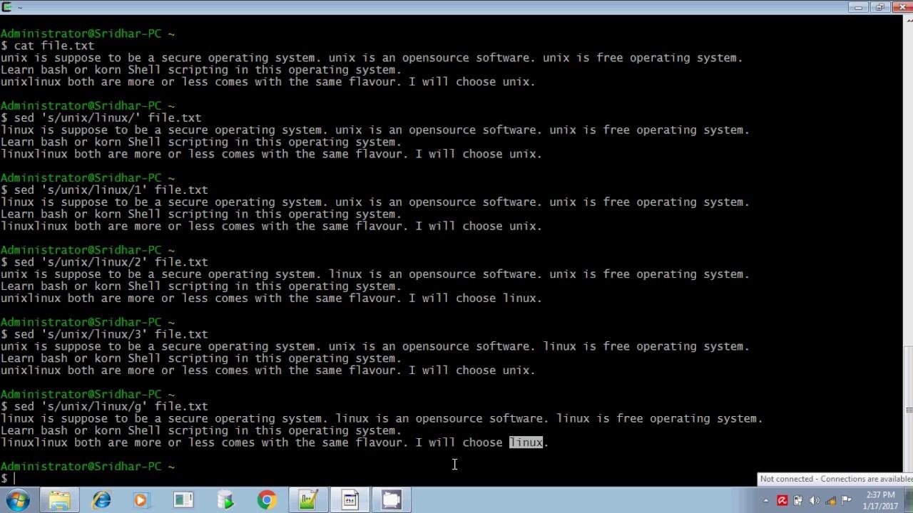 Unix shell scripting sed command part 1