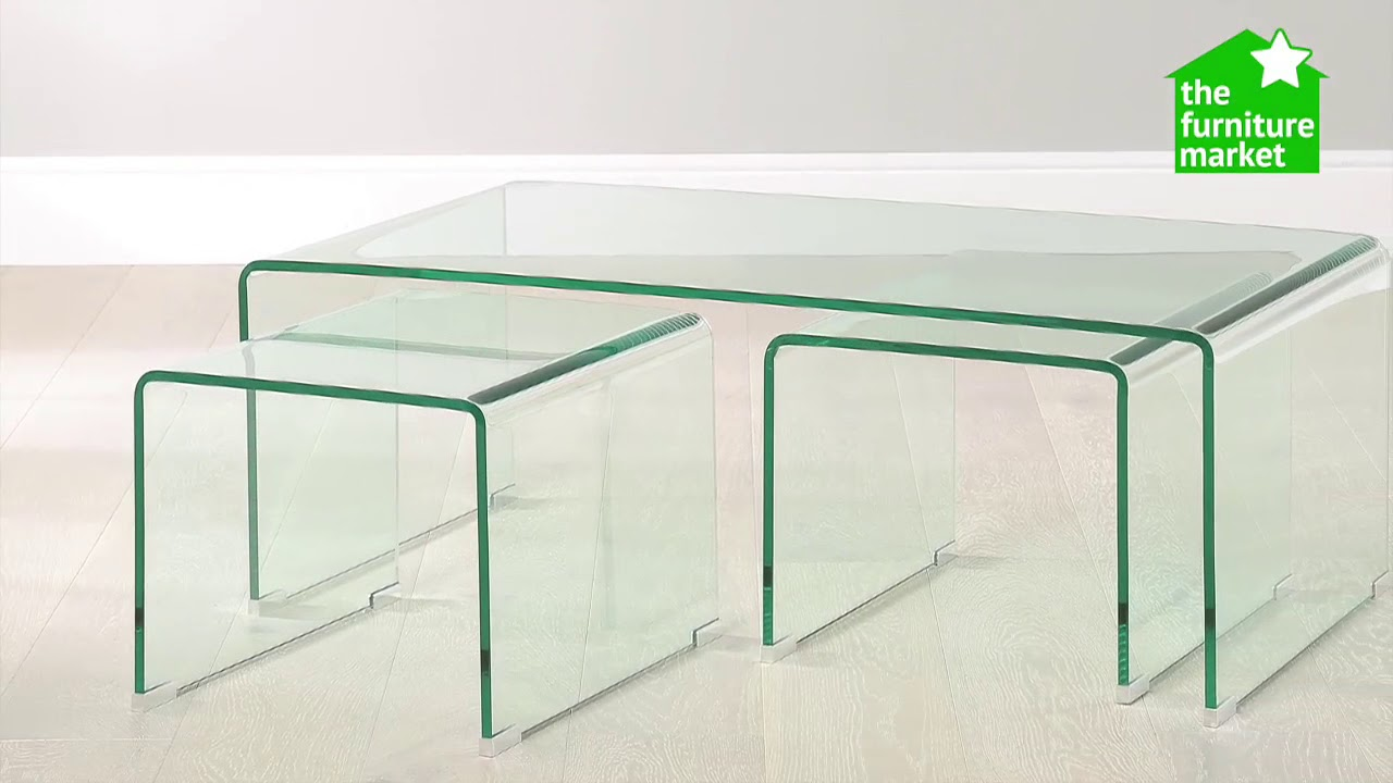 Geo glass coffee table with 2 nest tables youtube geo glass coffee table with 2 nest tables watchthetrailerfo