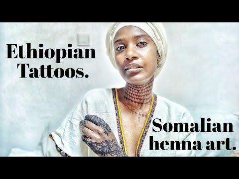 Ethiopian traditional tattoo and Somali henna
