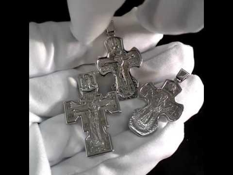 Православные нательные крестики изготовлены для всей семьи: папы, мамы и ребенка. Белое золото.