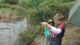 Ловля карася на удочку. Даже дети могут поймать карася.