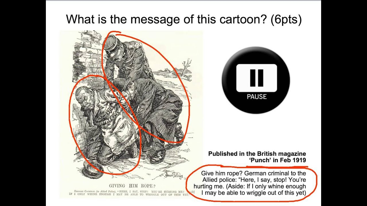 treaty of versailles cartoon analysis no Set of document analysis questions they did for homework troop levels, 1920 (cartoon) document c: treaty of versailles, articles 232 and 233 reparations.