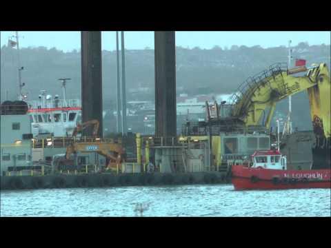 Moving massive Liebherr 995 dredger excavator