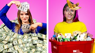 RICH GIRL vs POOR GIRL! 11 Funny DIY Ideas || Awkward Moments & Funny Situations by Crafty Panda