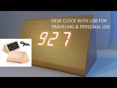 Travel Wooden Digital Alarm USB Clock