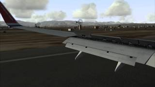 Landing in Palma 06L- Left window view. FSX PMDG NGX 737-800 Norwegian