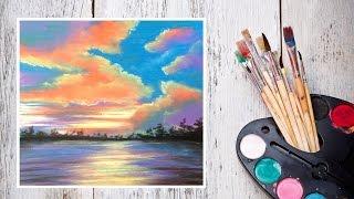 Видео урок Как нарисовать закат пастелью! Картина за 10 минут! #Dari_Art