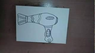 Como dibujar un secador de pelo -  How to draw a hair dryer