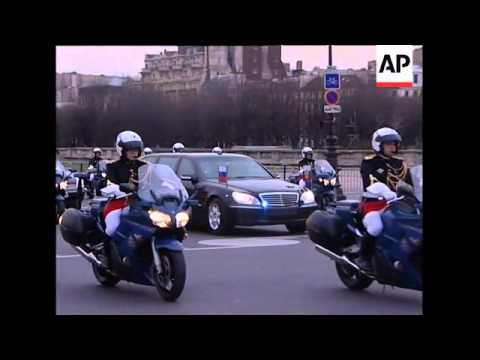Heavy security as Russian president arrives in French capital