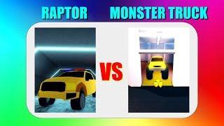 Raptor VS Monster Truck in Jailbreak!! (Roblox)