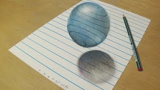 Drawing a Floating, Levitating Sphere - How to Draw 3D Ball - Trick art on Line Paper - VamosART